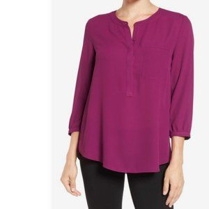 Georgette Henley With Pleated Back - Plum XS NWOT